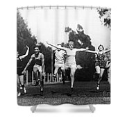 Silent Film Still: Sports Shower Curtain by Granger