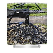 A .50 Caliber Browning Machine Gun Shower Curtain by Andrew Chittock