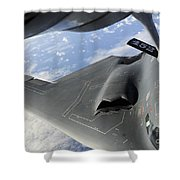 A B-2 Spirit Receives Fuel Shower Curtain by Stocktrek Images