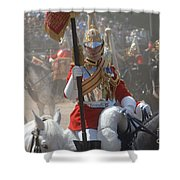 A British Life Guard Of The Household Shower Curtain by Andrew Chittock