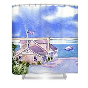 A Chatham Fish Market Shower Curtain by Joseph Gallant