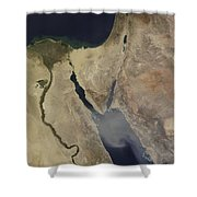 A Cloud Of Tan Dust From Saudi Arabia Shower Curtain by Stocktrek Images