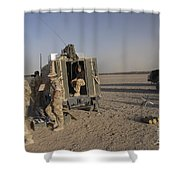 A Control Center For The Howitzer 105mm Shower Curtain by Andrew Chittock