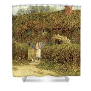 A Cottage At Freshwater Isle Of Wight Shower Curtain by Helen Allingham