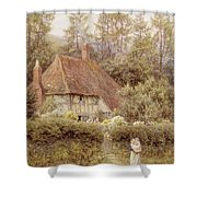 A Cottage Near Haslemere Shower Curtain by Helen Allingham