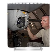A Crew Chief Works On Mq-1 Predators Shower Curtain by HIGH-G Productions