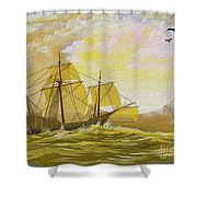 A Day At Sea Shower Curtain by Cheryl Young