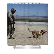 A Dog Handler Conducts Improvised Shower Curtain by Stocktrek Images