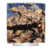 A Fossilized T. Rex Bursts To Life Shower Curtain by Mark Stevenson