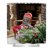 A French Restaurant Greeting Shower Curtain by Lainie Wrightson