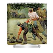 A Game Of Bourles In Flanders Shower Curtain by Remy Cogghe