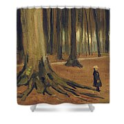 A Girl in a Wood Shower Curtain by Vincent van Gogh