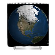 A Global View Over North America Shower Curtain by Stocktrek Images