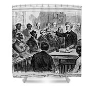 A Jury Of Whites And Blacks Shower Curtain by Photo Researchers