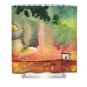 A Little House On Planet Goodaboom Shower Curtain by Miki De Goodaboom