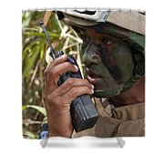 A Malaysian Paratrooper Maintains Shower Curtain by Stocktrek Images
