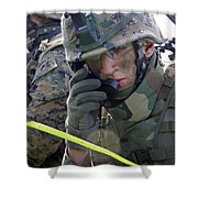 A Marine Communicates Over The Radio Shower Curtain by Stocktrek Images
