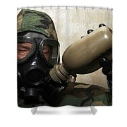 A Marine Drinks Water From A Canteen Shower Curtain by Stocktrek Images