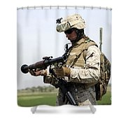 A Marine Looks At A Brand New Shower Curtain by Stocktrek Images