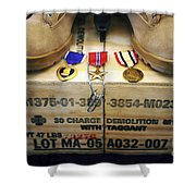 A Memorial Dedicated To An Airman Who Shower Curtain by Stocktrek Images