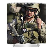 A Military Reserve Navy Seal Gives Shower Curtain by Michael Wood