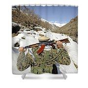 A Mujahadeen Guard Walks With U.s Shower Curtain by Stocktrek Images