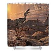 A Pack Of Carnivorous Velociraptors Shower Curtain by Mark Stevenson