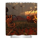 A Pair Of P-51 Mustang Fighter Planes Shower Curtain by Mark Stevenson