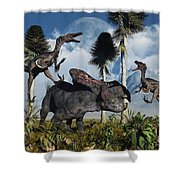 A Pair Of Velociraptors Attack A Lone Shower Curtain by Mark Stevenson