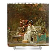 A Prior Attachment Shower Curtain by Marcus Stone