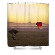 A Red Hot Air Balloon Takes Flight Shower Curtain by David DuChemin