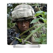 A Rifleman Conceals Himself Shower Curtain by Stocktrek Images