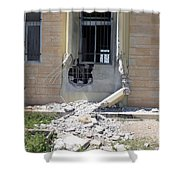 A Rocket Propelled Grenade Damaged This Shower Curtain by Stocktrek Images