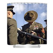 A Senior Drill Instructor Inspects Shower Curtain by Stocktrek Images