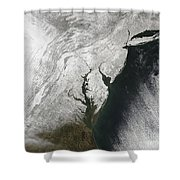 A Severe Winter Storm Along The United Shower Curtain by Stocktrek Images