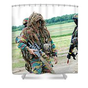 A Sniper Of The Belgian Army Together Shower Curtain by Luc De Jaeger