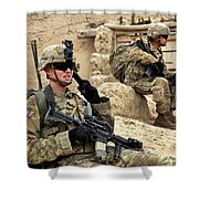 A Soldier Calls In Description Shower Curtain by Stocktrek Images