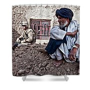 A Soldier Collects Information Shower Curtain by Stocktrek Images