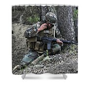 A Soldier Communicates His Position Shower Curtain by Stocktrek Images