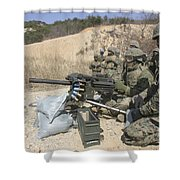 A Soldier Fires A Mk19 40mm Heavy Shower Curtain by Stocktrek Images