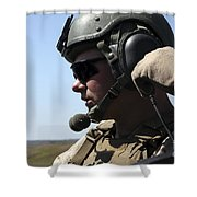 A Soldier Keeps In Radio Contact Shower Curtain by Stocktrek Images