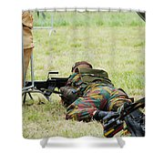 A Soldier Of The Belgian Army On Guard Shower Curtain by Luc De Jaeger