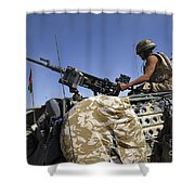 A Soldier Of The British Army Mans Shower Curtain by Andrew Chittock