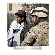 A Soldier Talks To A Local Villager Shower Curtain by Stocktrek Images