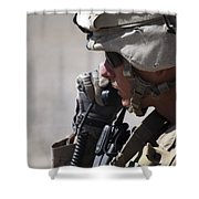 A Squad Leader Puts His Marines Shower Curtain by Stocktrek Images