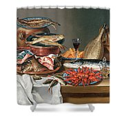 A Still Life Of A Fish Trout And Baby Lobsters Shower Curtain by Anton Friedrich Harms