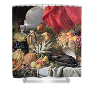 A Still Life of Game Birds and Numerous Fruits Shower Curtain by William Duffield