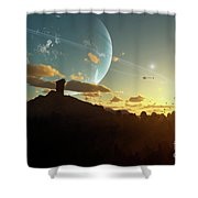 A Sunset On A Forested Moon Which Shower Curtain by Brian Christensen