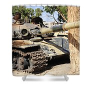 A T-72 Tank Destroyed By Nato Forces Shower Curtain by Andrew Chittock
