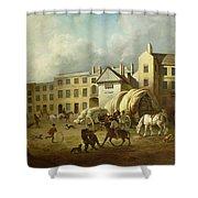 A Town Scene  Shower Curtain by George Garrard